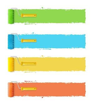 Rolborstels met strepen voor uw tekst.