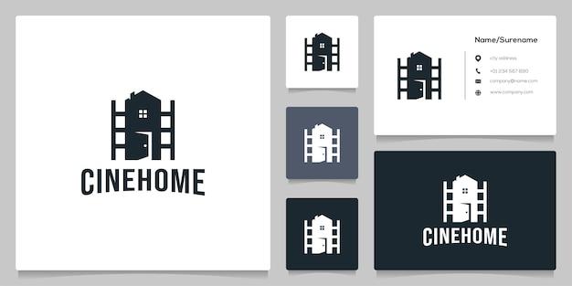 Roll cinema real estate photography logo-ontwerp met visitekaartje