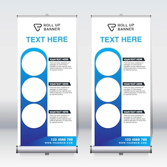 Roll-up banner, pull-up banner, x-banner, moderne verticale nieuwe vector ontwerpsjabloon