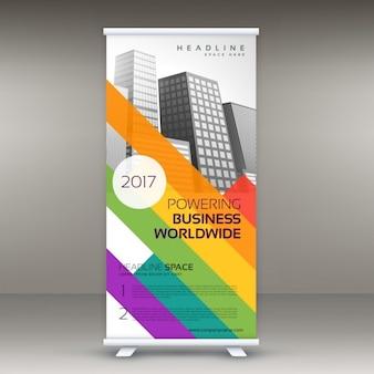 Roll up banner sjabloon met kleurrijke lijnen voor uw merk