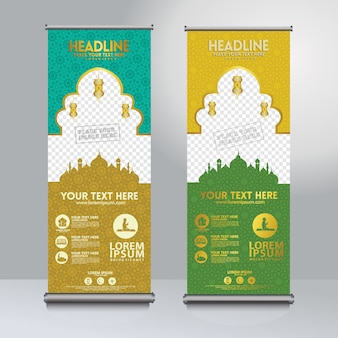 Roll-up banner sjabloonontwerp met moskee patroon textuur instellen