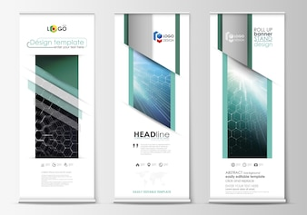 Roll-up banner stands, abstracte geometrische stijl sjablonen, corporate verticale vector flyers, vlag lay-outs.
