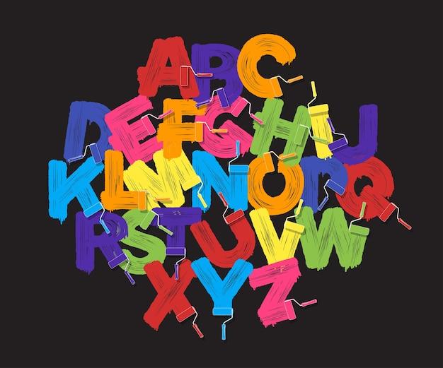 Roller brush alfabet lettertypeset. felle kleuren verfrollen op zwarte achtergrond