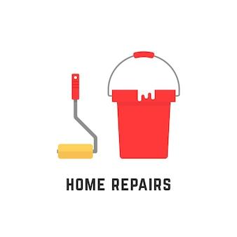 Roller en emmer zoals huisreparaties. concept van degel, renoveren, decoreren, vloervernieuwing, nieuw idee, gebruiksvoorwerp, baan, plan. vlakke stijl trend moderne logo ontwerp vectorillustratie op witte achtergrond
