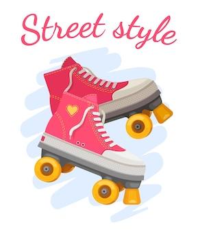 Roller meisjes print. trendy roze rolschaats met hart en slogan streetstyle. retro zomer meisjesmode. positief t-shirt vectorontwerp. laarzen voor sportactiviteit of hobby, vrije tijd