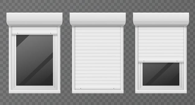 Rolluiken. ramen rolgordijn metalen frame, witte jaloezie, gevel huisveiligheid kantoorraam set