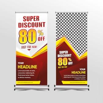Rollup of staande x-banner sjabloon super speciale aanbieding verkoop kortingsset