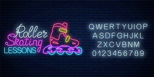 Rolschaatsen gloeiend neonbord met alfabet. rolschaatslessen reclamebord. skate zone symbool in neon stijl. illustratie.