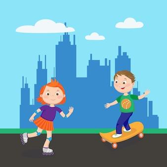 Rolschaatsen meisje. schaatsen jongen. kinderen spelen in de stad. vector illustratie