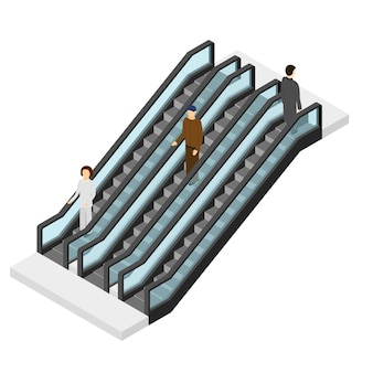 Roltrap met mensen isometrische weergave. passagier gaat omhoog en omlaag. trappen voor openbare plaatsen.