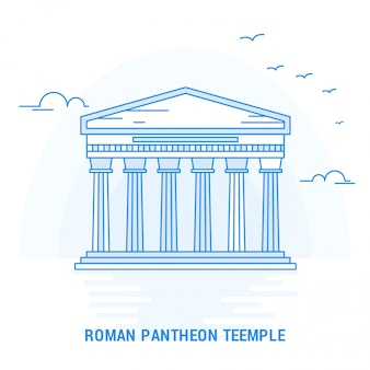 Roman pantheon temple blue landmark
