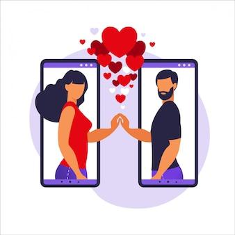 Romantiek app, virtuele relatie, communicatie, social media concept. twee smartphones met datingapp waarmee mensen liefde kunnen vinden. illustratie in flat.