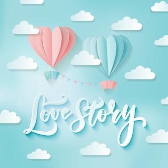 Romantiek twee hartvormige heteluchtballonnen in de lucht met wolken