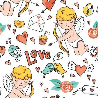 Romantisch beeldverhaal naadloos patroon, leuke cupido, vogels, enveloppen, harten en elementen.