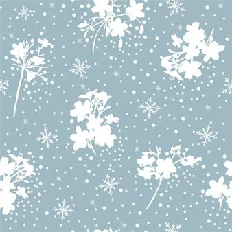 Romantisch blauw en wit sneeuwvlok en winter bloemen naadloos patroon in vector, ontwerp voor mode, stof, behang, verpakking en alle prints