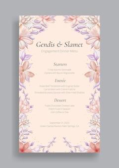 Romantisch bloemen bruiloft menusjabloon