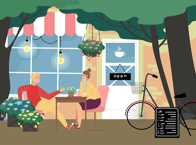 Romantisch café-restaurant, mooi stel, man en vrouw
