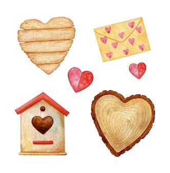 Romantisch houten vogelhuisje, houten bord in hartvorm en een houten plak. handgeschilderde aquarel illustratie met prachtige textuur.