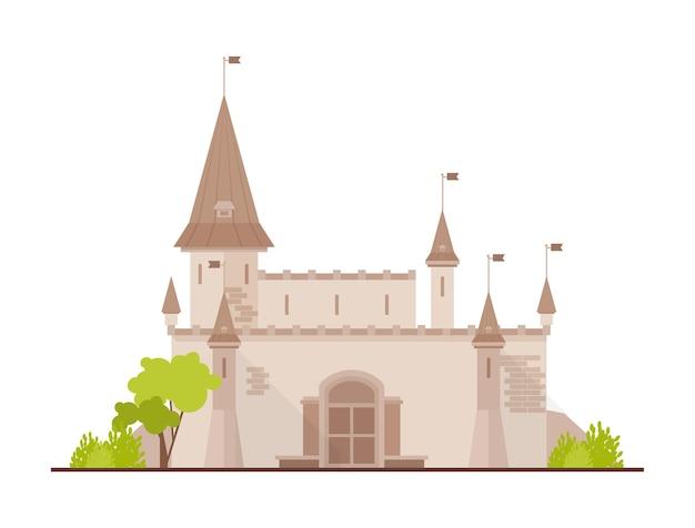 Romantisch kasteel, fort of bolwerk met torens en poort op wit wordt geïsoleerd