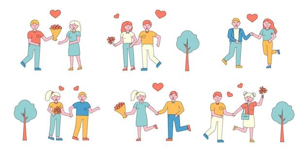 Romantisch koppels platte charers set. mensen in liefde vergadering in park.