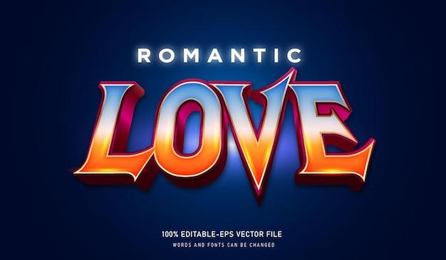 Romantisch liefdesteksteffect en bewerkbaar lettertype