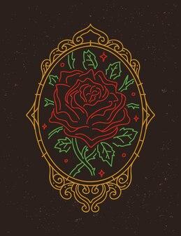 Romantisch monoline bloem roos posterontwerp
