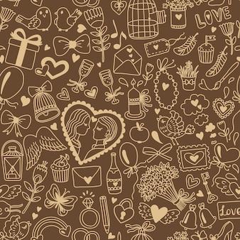 Romantisch naadloos patroon in beeldverhaalstijl. bruiloft of valentijnsdag illustratie
