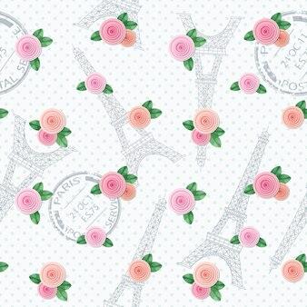 Romantisch naadloos patroon met de toren van eiffel.
