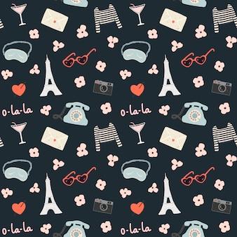 Romantisch naadloos patroon met heel wat reiselementen