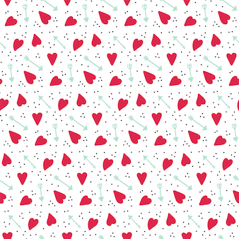 Romantisch naadloos vectorpatroon met harten en pijlen.