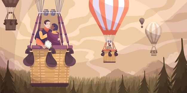Romantisch paar ballon platte compositie met ballonvlucht romantische rit van twee geliefden
