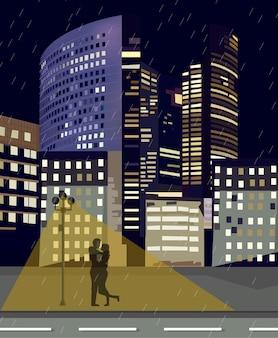 Romantisch paar bij commercieel van de nachtstad centrum
