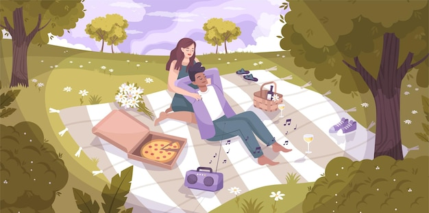 Romantisch paar natuur vlakke compositie met geliefden had een picknick in het park op een deken