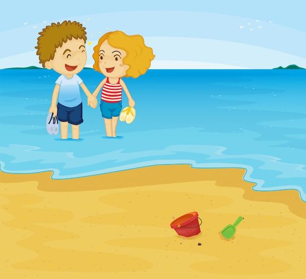 Romantisch paar op het strand