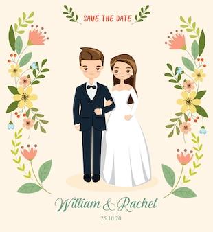 Romantisch paar voor de kaart van huwelijksuitnodigingen