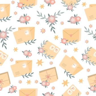Romantisch patroon met enveloppen en bloemen