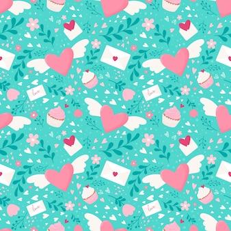 Romantisch patroon met gevleugelde harten, bloemen, letters en snoep.