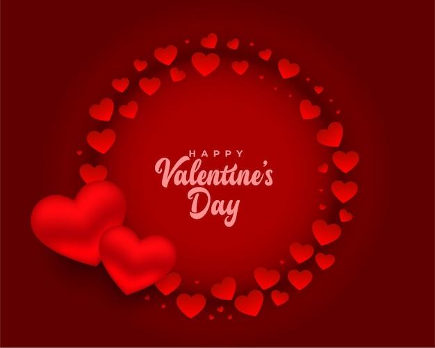 Romantisch rood gelukkig valentijnsdag kaart ontwerp