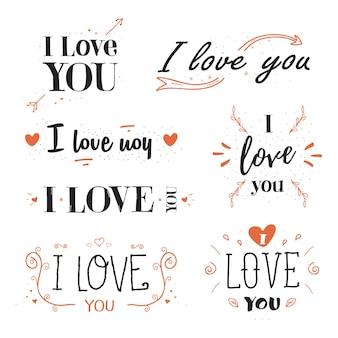Romantisch, valentijnsdag citaat, zin ik hou van je.