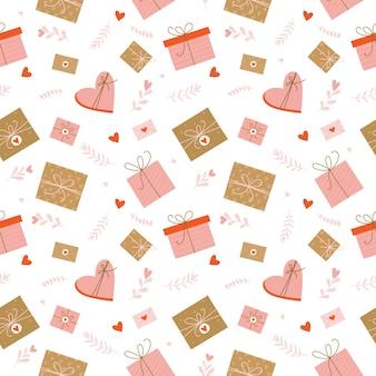 Romantisch valentijnsdag naadloze patroon met harten, liefdesbrieven, geschenken en florale elementen.