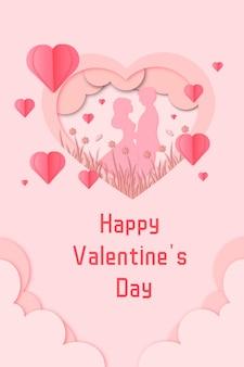 Romantisch valentijnsdag papier gesneden