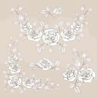 Romantisch vintage boeket met rozen en bladeren