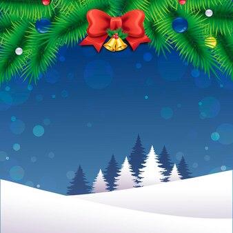 Romantisch vrolijk kerstlandschap met kleurrijke decoraties