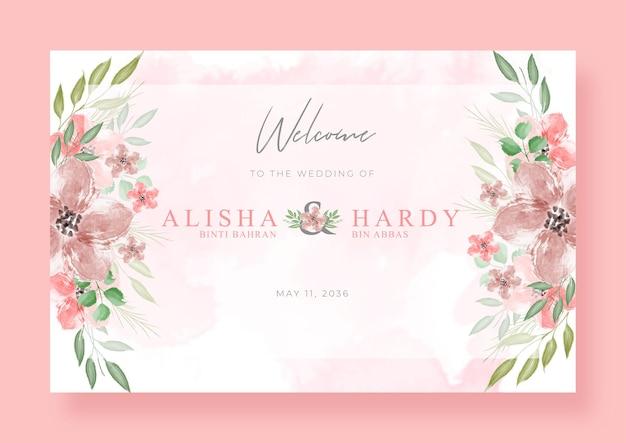 Romantisch welkomstbord bruiloft met prachtige bloemenwaterverf