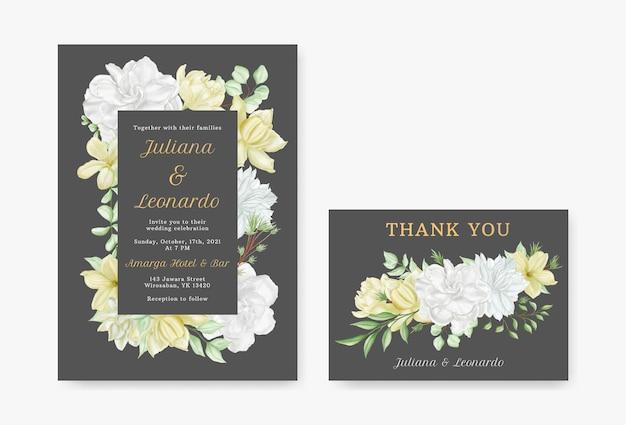 Romantische aquarel bloem bruiloft uitnodiging kaartsjabloon