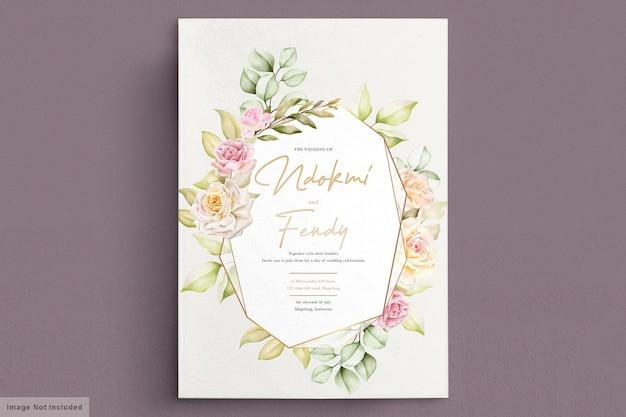 Romantische aquarel bloemen bruiloft kaart
