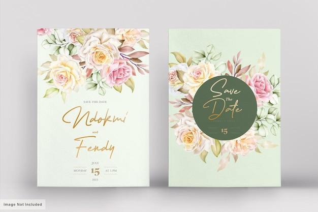 Romantische aquarel bloemen bruiloft kaartenset