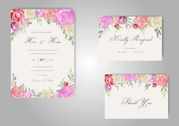 Romantische aquarel bruiloft stationaire met mooie rozen