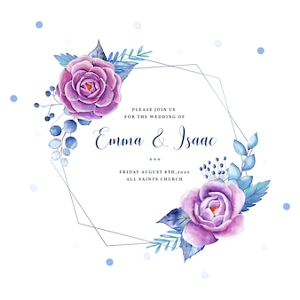 Romantische aquarel frames met prachtige handgeschilderde bloemen en takken