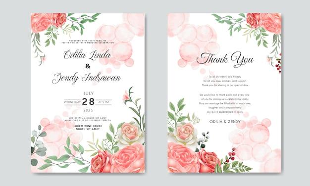 Romantische bloem bruiloft uitnodiging